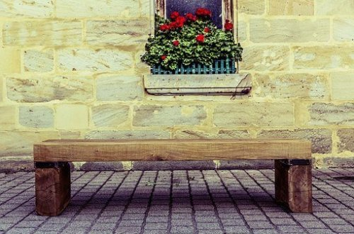 bench on a street