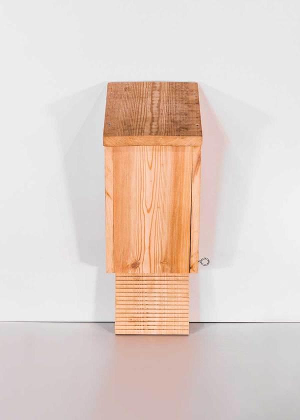 Platte vleermuiskast, gemaakt uit lariks. Deze nestkast is op maat gemaakt voor de ruige dwergvleermuis en de rosse vleermuis