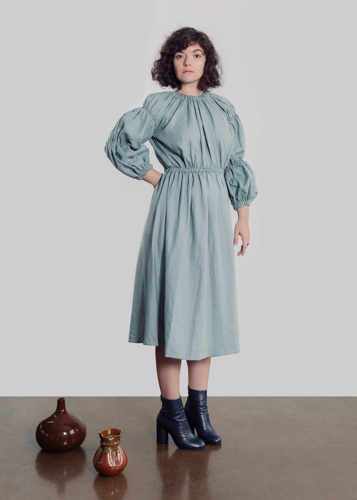 Annika Deboer Lauren Dress Steel Blue Ethical and Sustainable Fashion in New Zealand