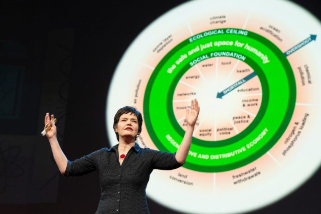 Kate Raworth, British economist who developed concept of Doughnut Economics speaks at TED conference