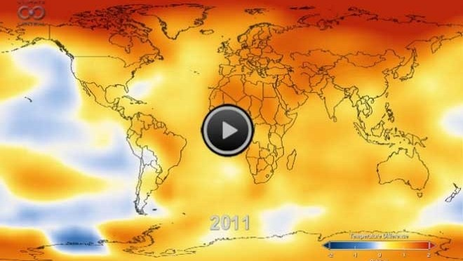 Animation of global warming since 1880