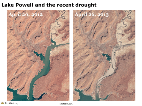 Lake Powell satellite image drought
