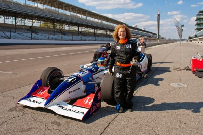 ecoXplorer Evelyn Kanter rides an Indy 500 car