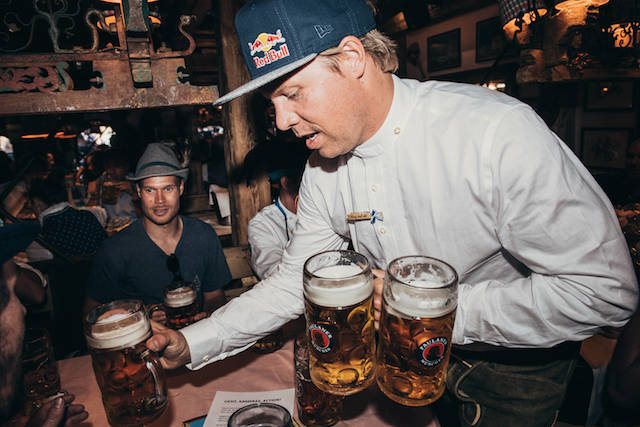 Travis Rice brings beer at the Oktoberfest in Munich, Germany on September 25th, 2016. // Phil Pham / Red Bull Content Pool // P-20160926-01356 // Usage for editorial use only // Please go to www.redbullcontentpool.com for further information. //