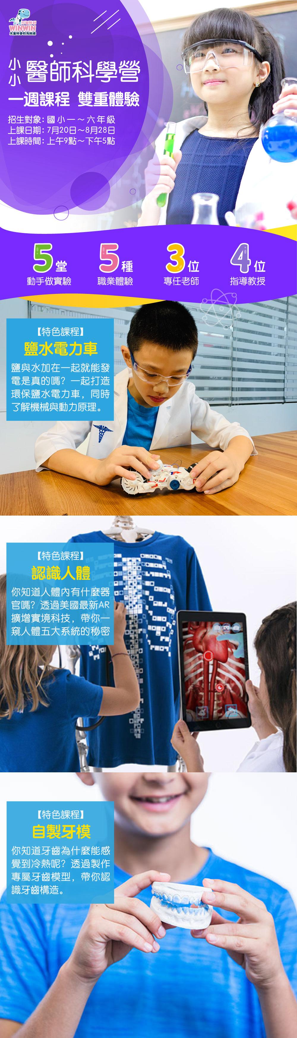 【升1~6年級】兒童科普教育五日夏令營 小小醫師科學營(全臺7縣市)   Niceday玩體驗