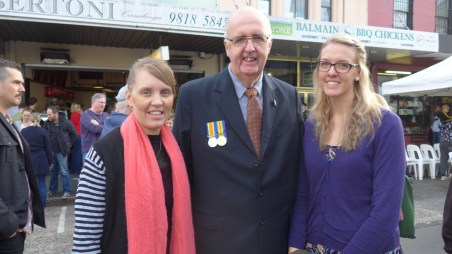Image of Kristen, Chris and Katelyn at Balmain, Anzac Day 2015 - ecperkins.com.au