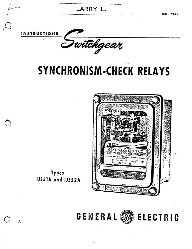 GEH-1791A SYNCHRONISM-CHECK RELAYS TYPES IJS51A AND IJS52A