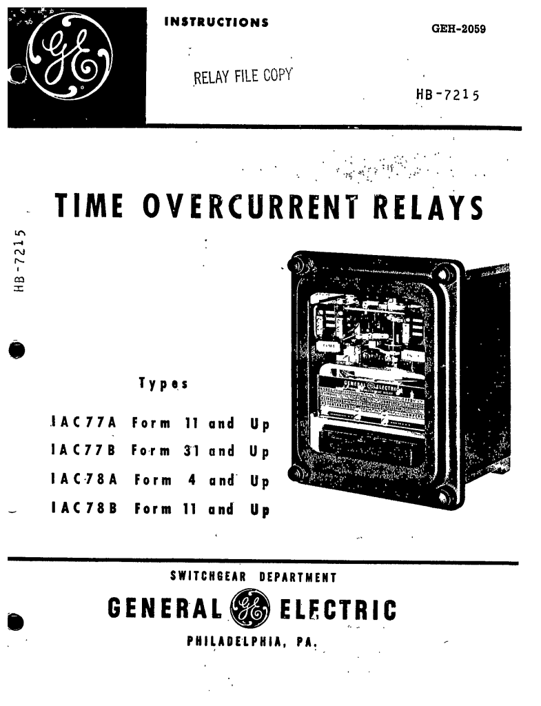 GEH-2059 TIME OVERCURRENT RELAYS TYPES IAC77A FORM 11 AND