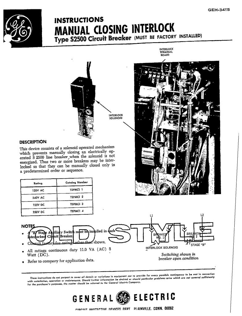 GEH-3415 MANUAL CLOSE INTERLOCK TYPE S2500 CB MANUAL