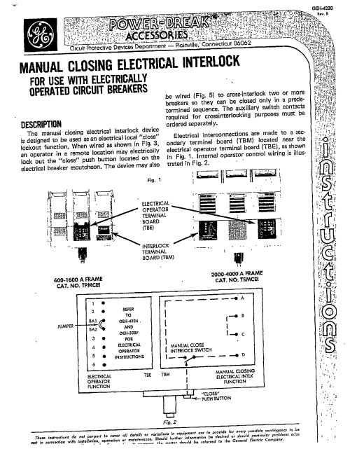 small resolution of geh 4328 manual closing electrical interlock manual general electric