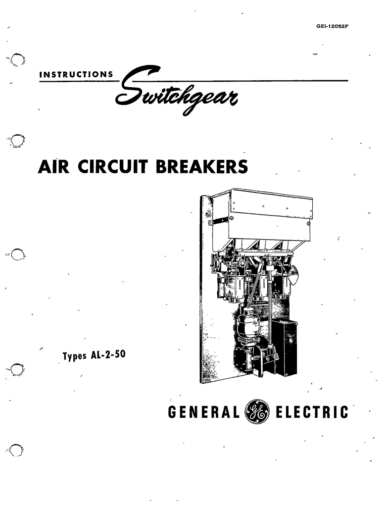 GEI-12052F AIR CIRCUIT BREAKERS TYPES AL-2-50 MANUAL