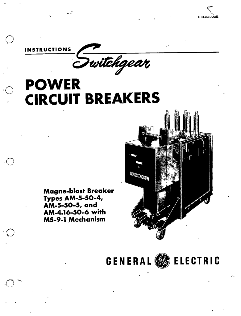 GEI-23903E POWER CIRCUIT BREAKERS MAGNE-BLAST BREAKER