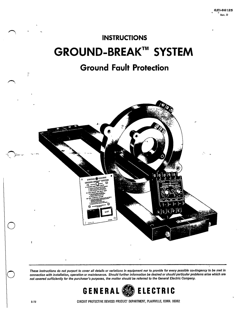 GEI-86125 GROUND-BREAK SYSTEM GROUND FAULT PROTECTION