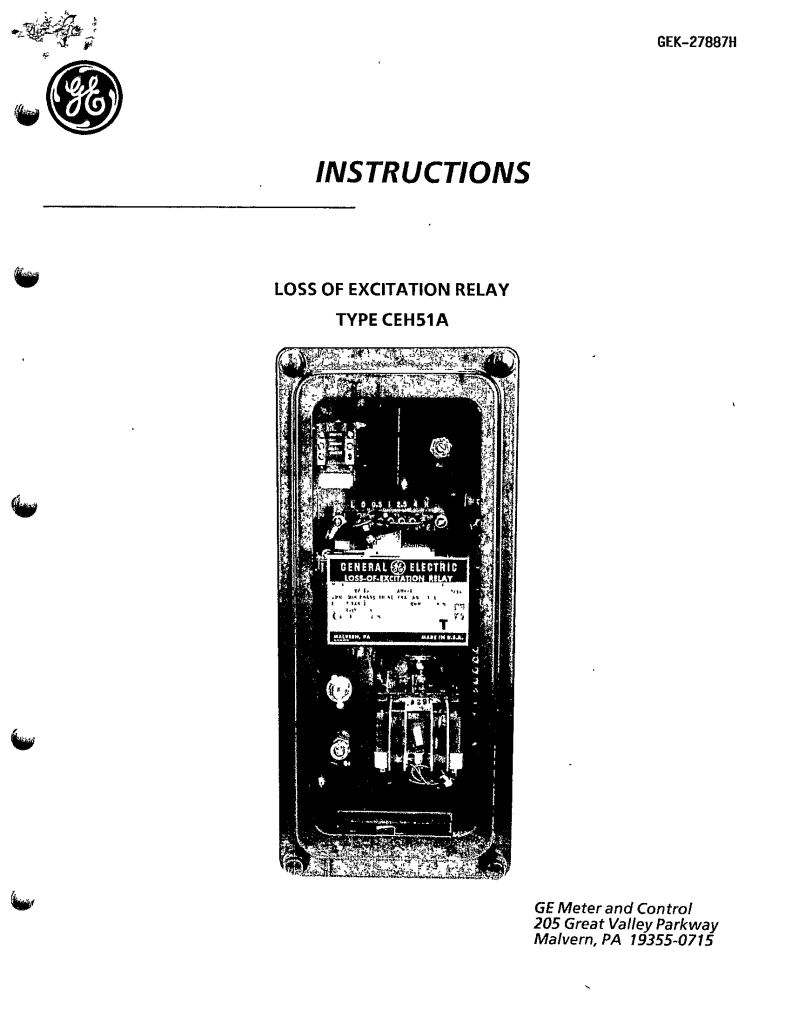 GEK-27887H LOSS OF EXCITATION RELAY TYPE CEH51A MANUAL