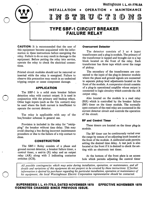 small resolution of i l 41 776 5a type sbf 1 circuit breaker failure relay manual westinghouse