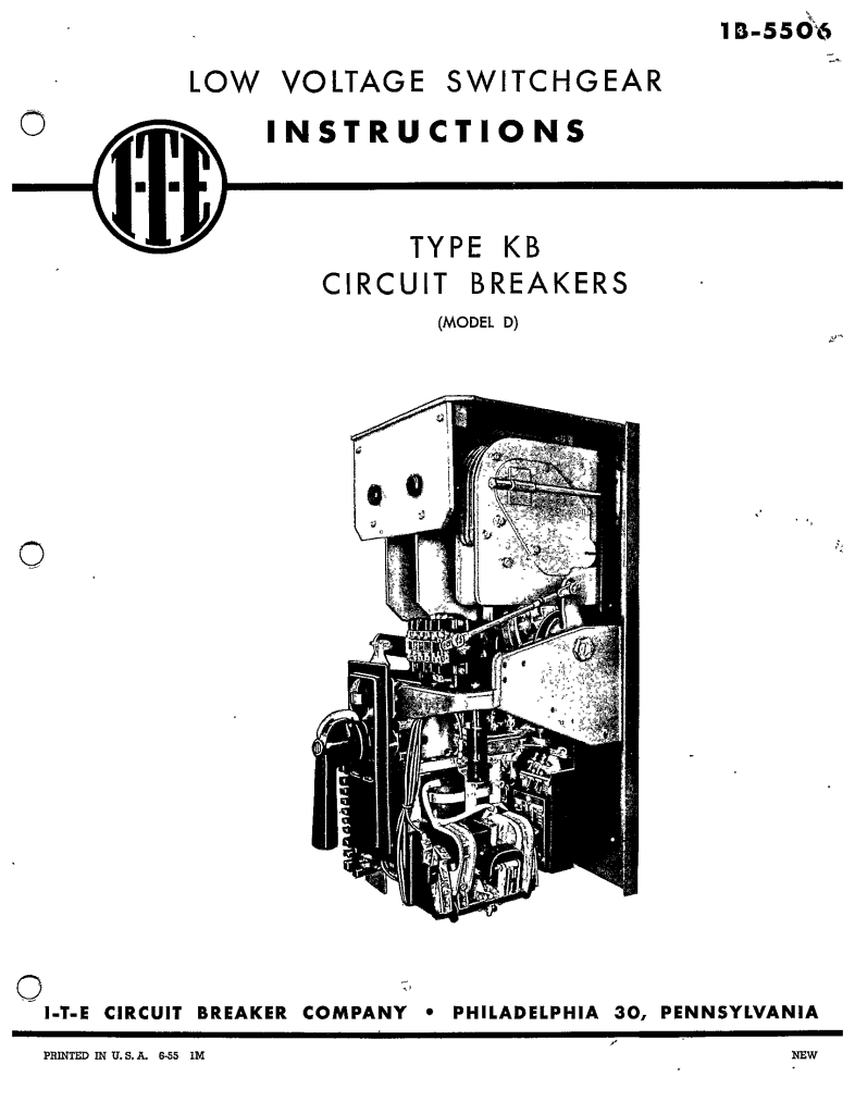 1B-5506 TYPE KB CIRCUIT BREAKERS (MODEL D) Manual: I-T-E