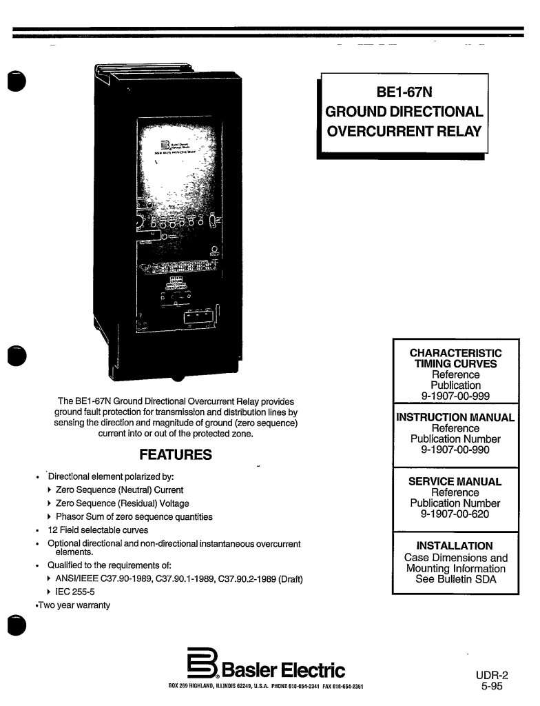 BE1-67N GROUND DIRECTIONAL OVERCURRENT RELAY MANUAL