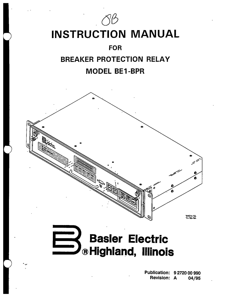 BREAKER PROTECTION RELAY MODEL BE1-BPR REVISION A MANUAL
