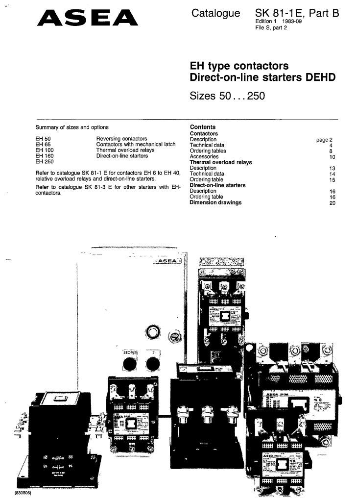 EH TYPE CONTACTORS DIRECT-ON-LINE STARTERS DEHD MANUAL