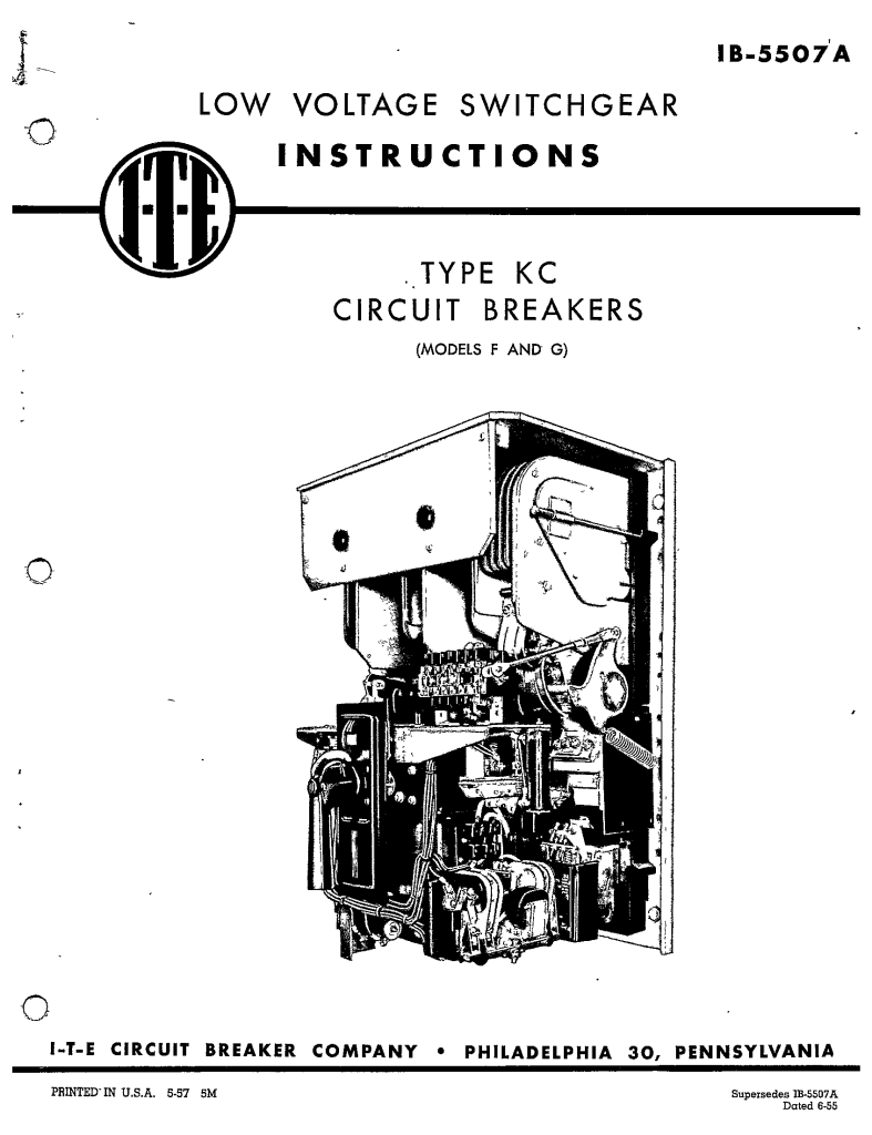 IB-5507A TYPE KC CIRCUIT BREAKERS (MODELS F AND G) Manual