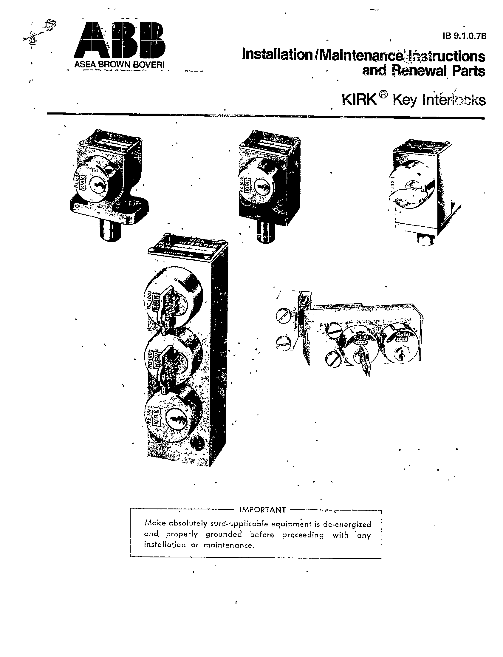 Cutler Hammer Kirk Key Operating Instructions
