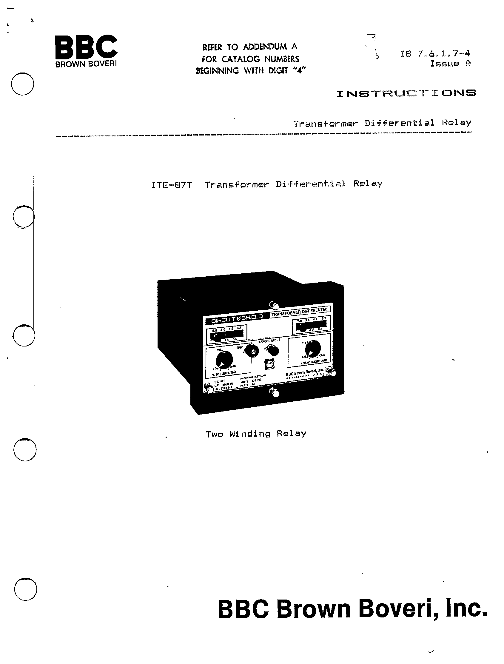 Ite 87t Transformer Differential Relay Manual