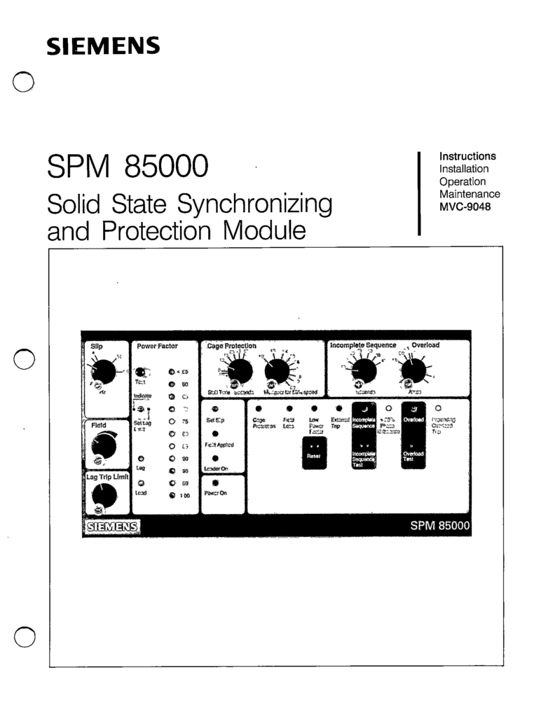 MVC-9048 SPM 85000 SOLID STATE SYNCHRONIZING AND