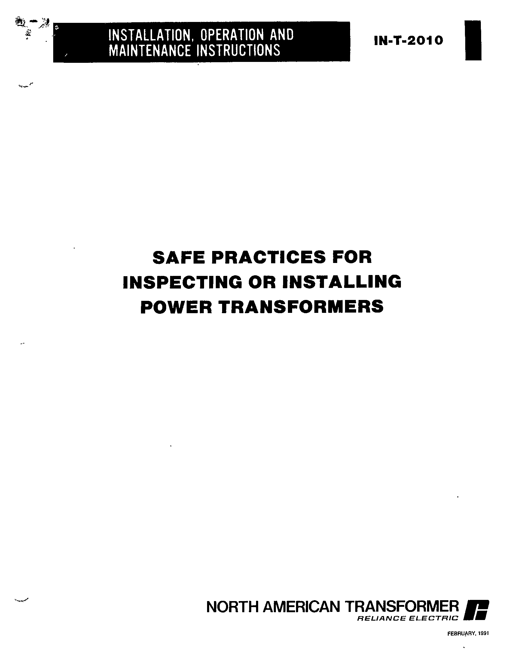 SAFE PRACTICES FOR INSPECTING OR INSTALLING POWER