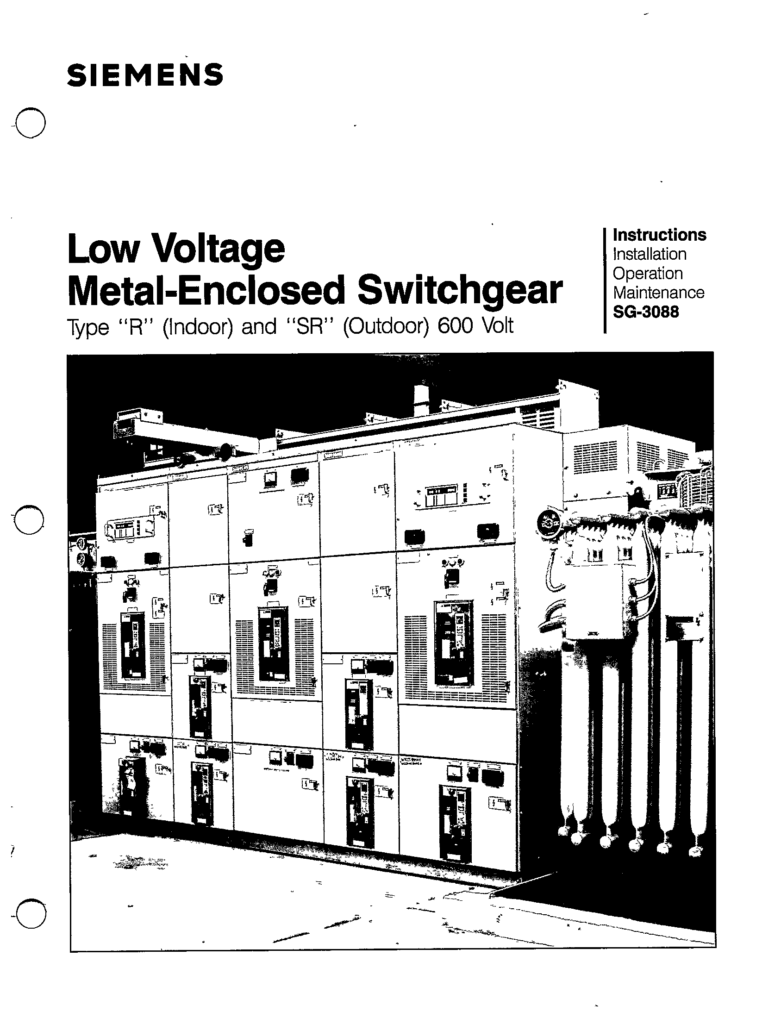 SG-3088 LOW VOLTAGE METAL-ENCLOSED SWITCHGEAR TYPE R