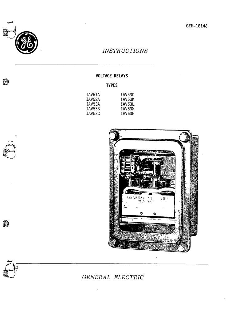 GEH-1814J VOLTAGE RELAYS TYPES IAV51A, 52A, 53A, 53B, 53C