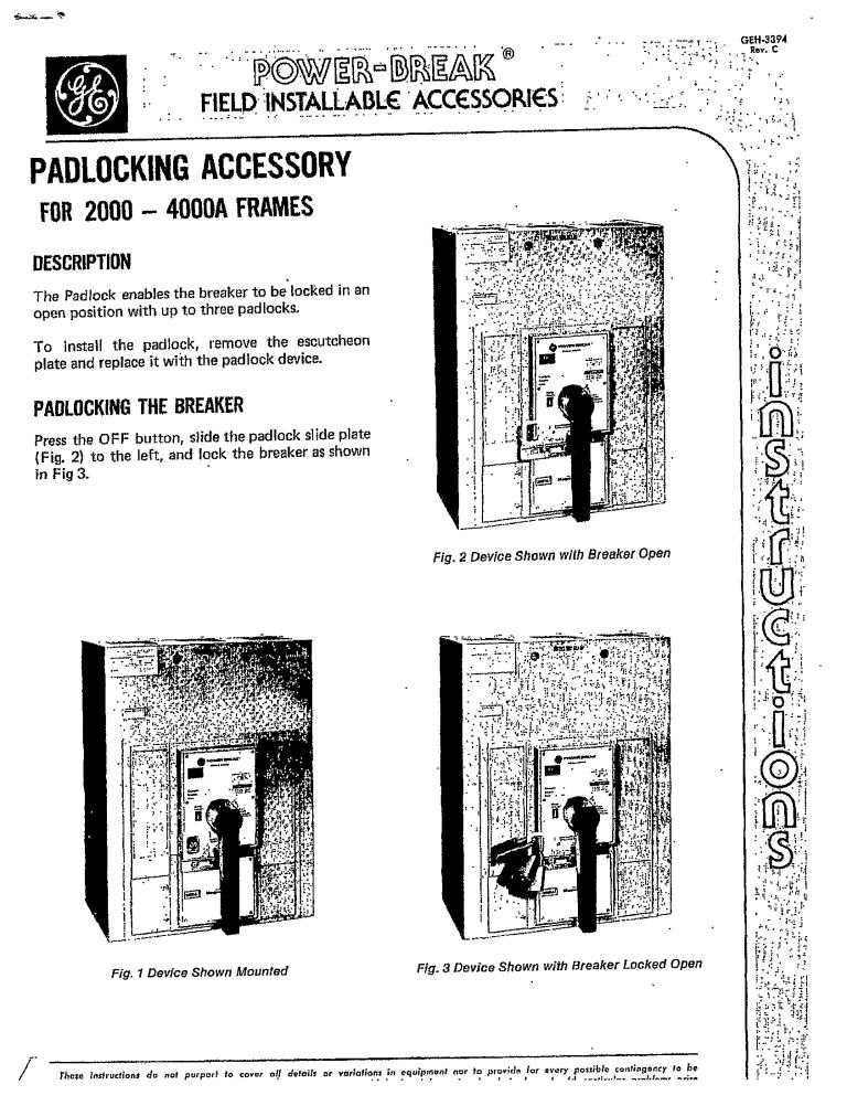 GEH-3394 PADLOCKING ACCESSORY FOR 2000-4000A FRAMES