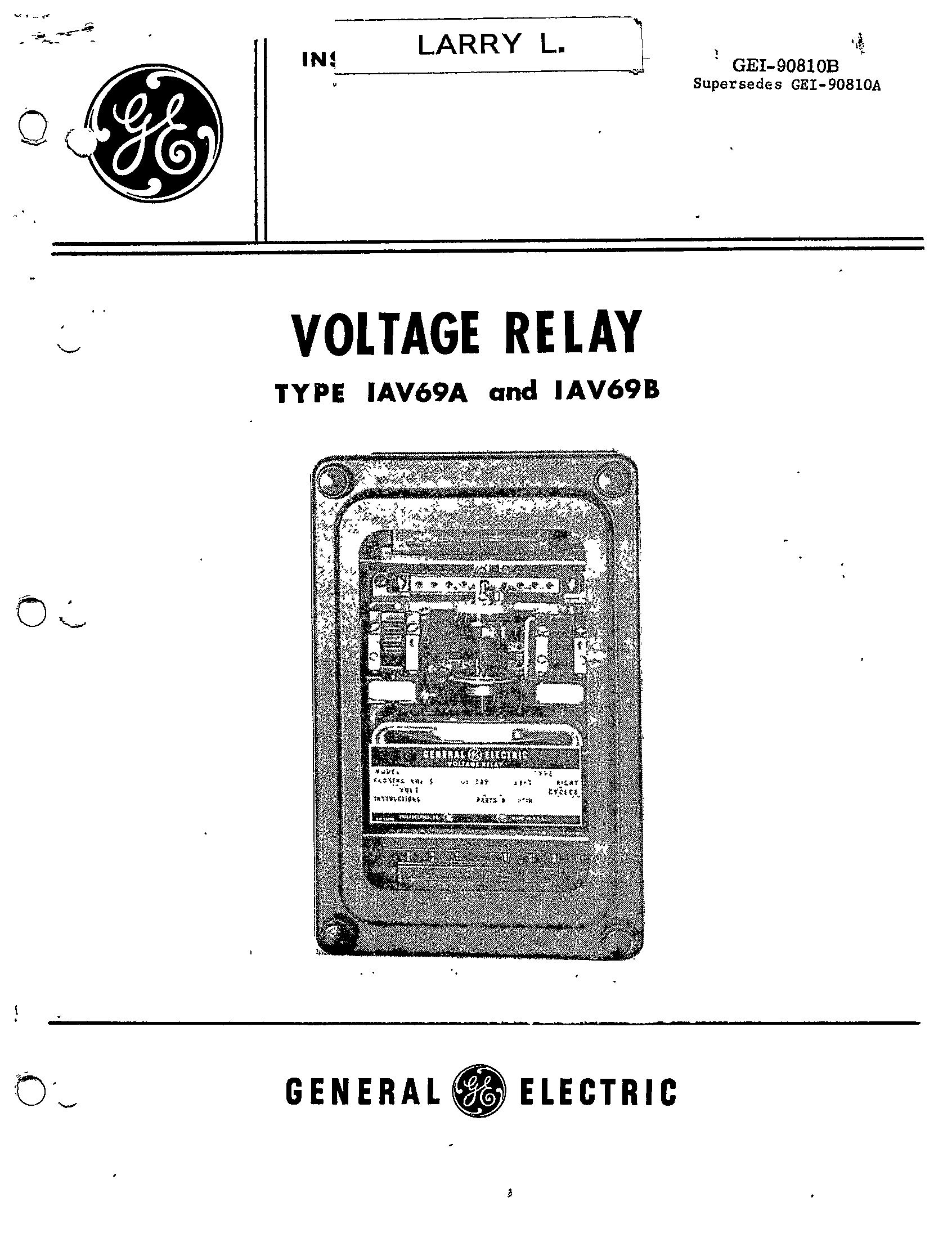 GEI-90810B VOLTAGE RELAY TYPE IAV69A AND IAV69B MANUAL