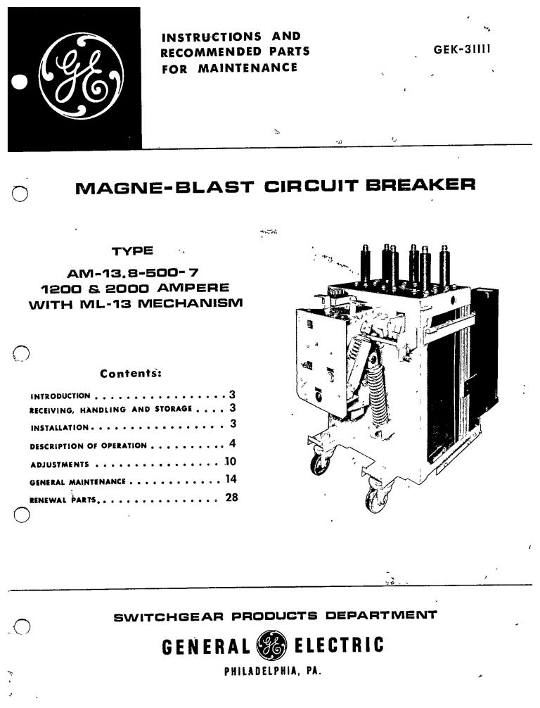 GEK-31111 MAGNE-BLAST CIRCUIT BREAKER TYPE AM-13.8-500-7