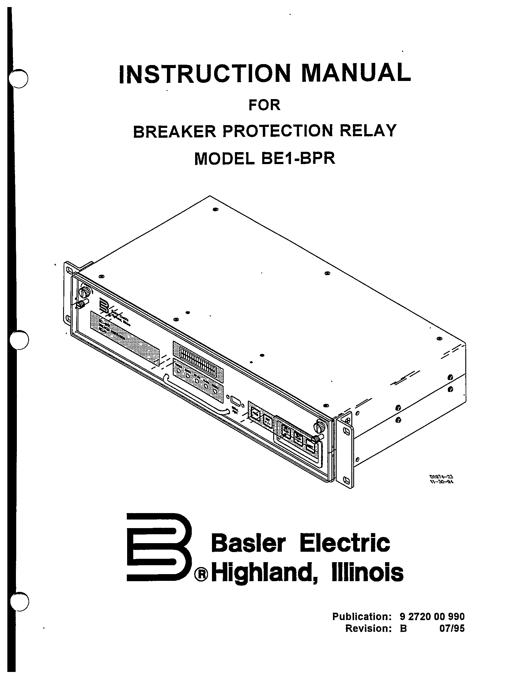BREAKER PROTECTION RELAY MODEL BE1-BPR REVISION B MANUAL