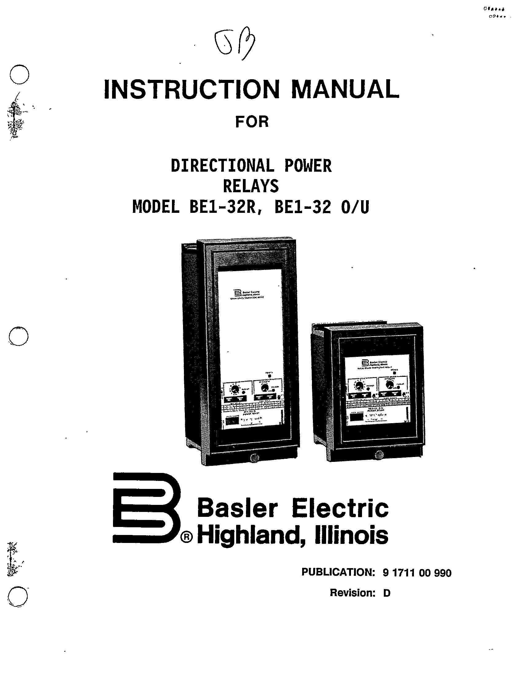DIRECTIONAL POWER RELAYS MODEL BE1-32R, BE1-32 O-U MANUAL