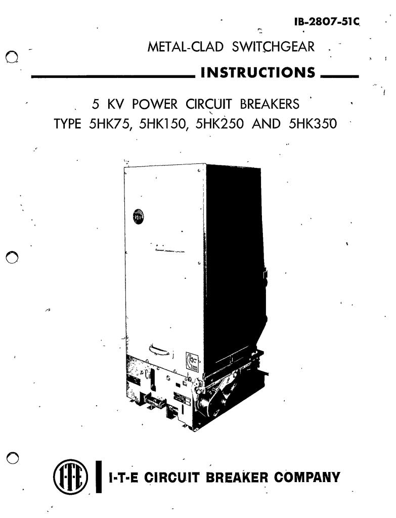 IB-2807-51C 5KV POWER CIRCUIT BREAKERS TYPE 5HK75, 5HK150
