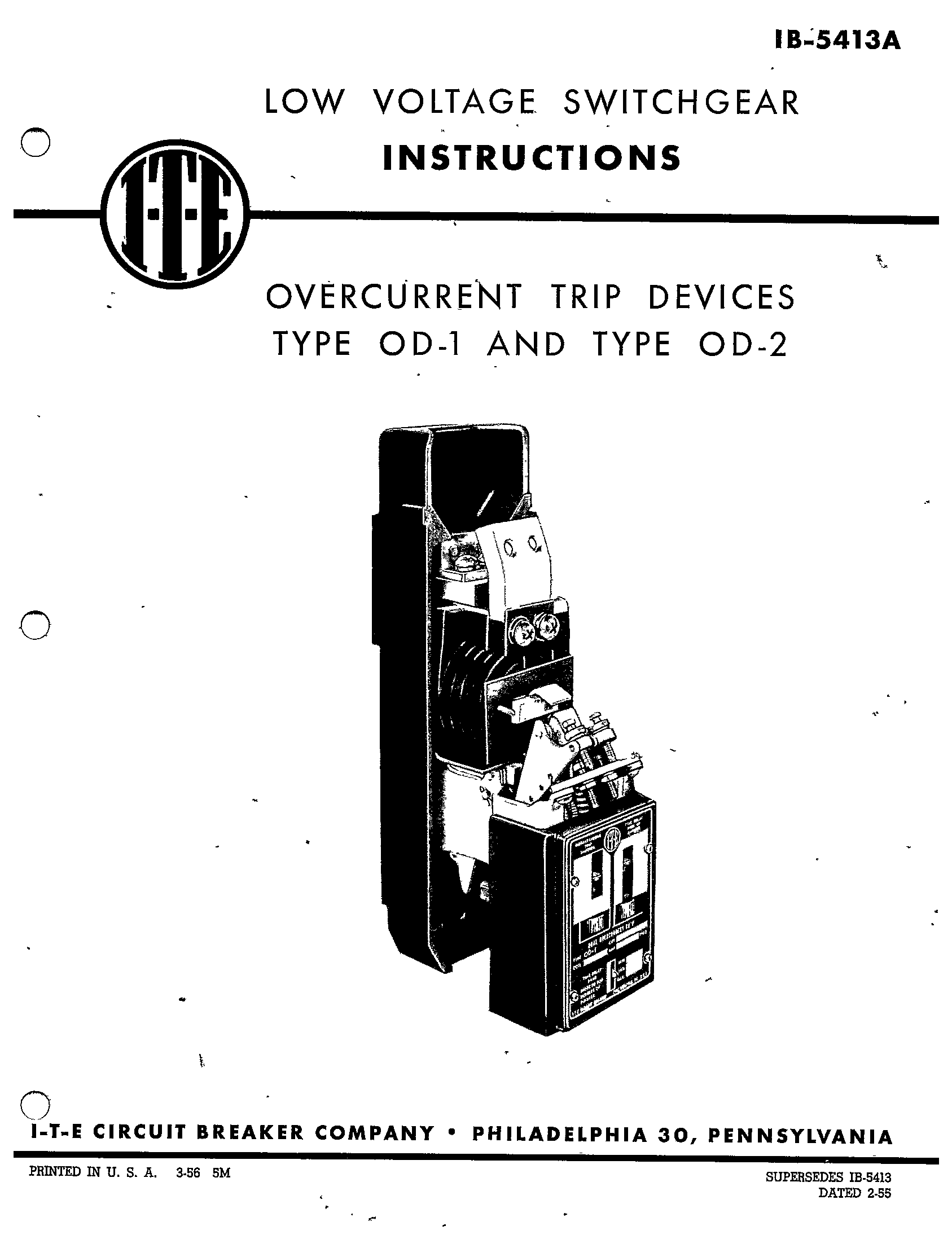 IB-5413A OVERCURRENT TRIP DEVICES TYPE OD-1 AND TYPE OD-2