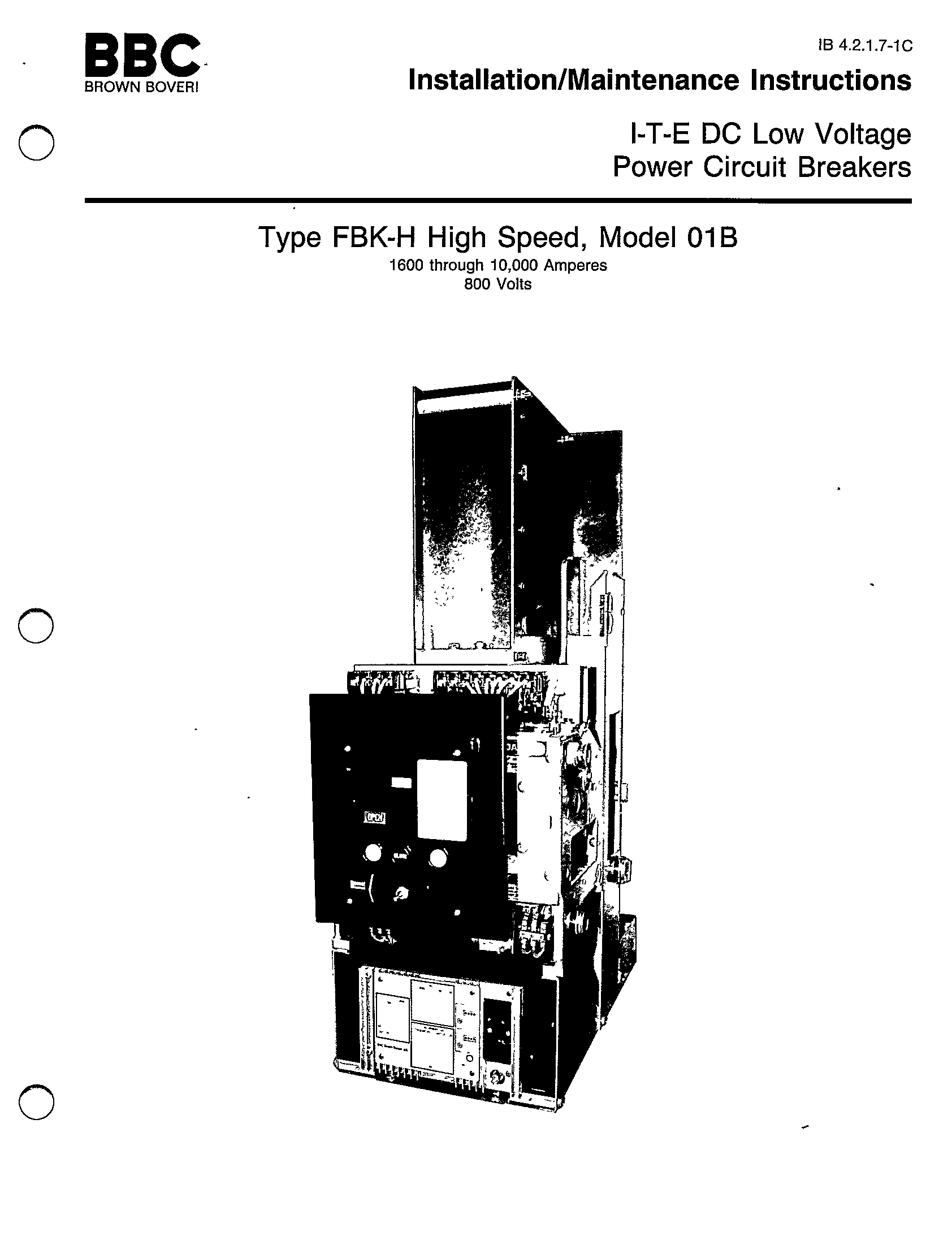 ITE DC LOW VOLTAGE POWER CIRCUIT BREAKERS TYPE FBK-H HIGH