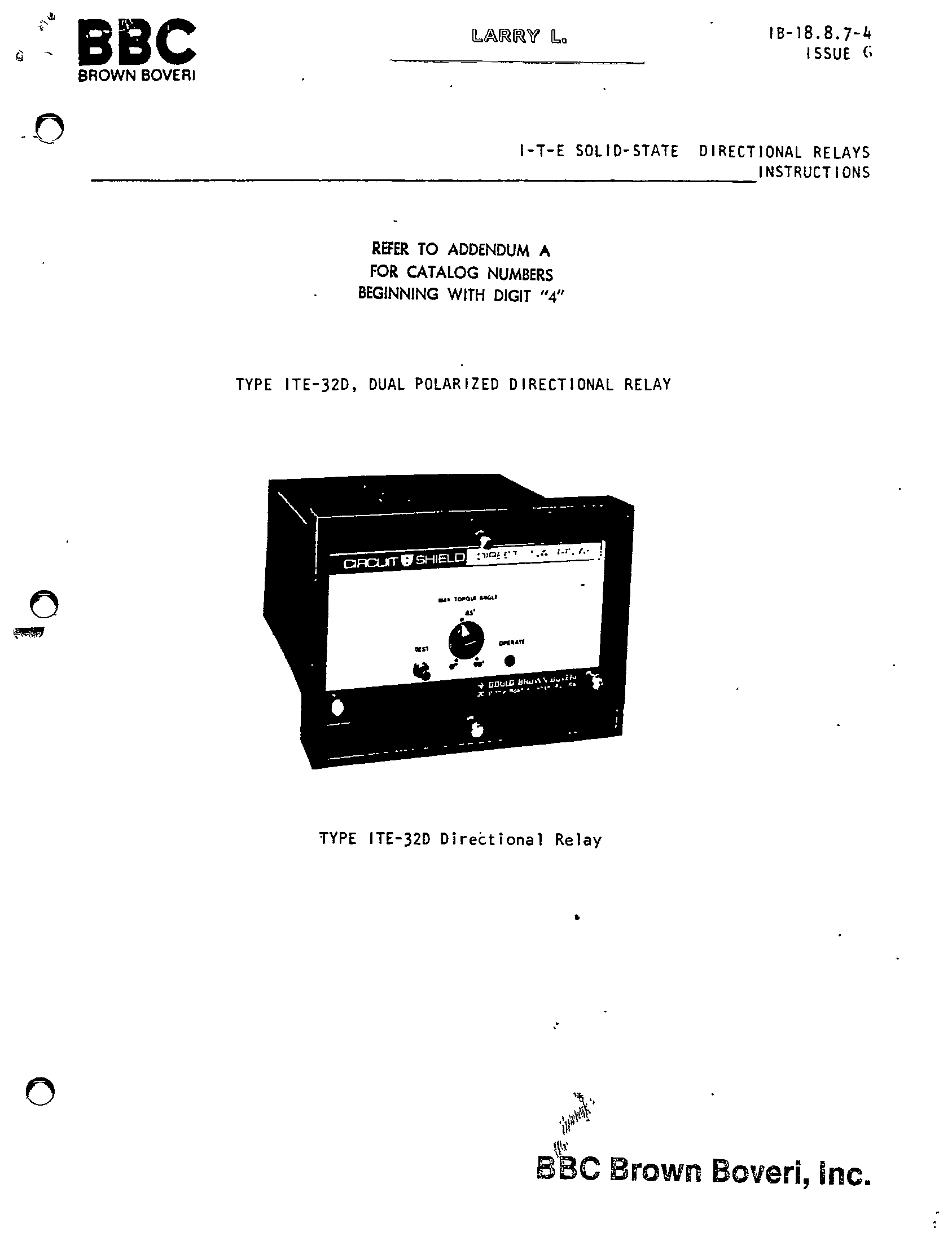 TYPE ITE-32D, DUAL POLARIZED DIRECTIONAL RELAY MANUAL