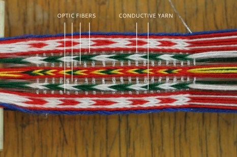 Stripes with optic fibers and conductive yarn. More strands of the optic fibers and conductive yarn were used as compared to the regular woolen yarn in order to obtain similar thickness of the stripes.