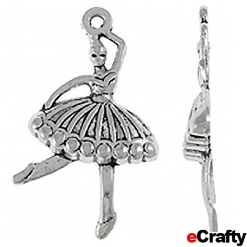 SKU 1510S 10 pack silver ballerina charms from eCrafty.com