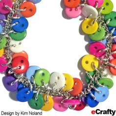 "DIY Chakra Rainbow Button Charm Bracelet Recipe from eCrafty.com Design by Kim Noland Supplies from eCrafty.com Supplies you'll need to make the bracelet: SKU 1063B Rainbow Mix Buttons 9mm (450pc per bag ~ lots!) SKU 1501W 6mm x 1mm Silver Plated Jump Rings SKU 1198D 1 Starter Chain Bracelet Base, silver plated, 7"" Additional supplies you'll need to make the earrings: SKU 806M 10mm Silver Plated Split Jump Rings SKU 1558 1 bag silver plated ear wires"