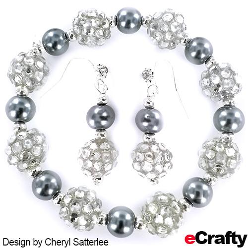 DIY Easy Silver Sparkler Pearls Bracelet + Earrings Recipe