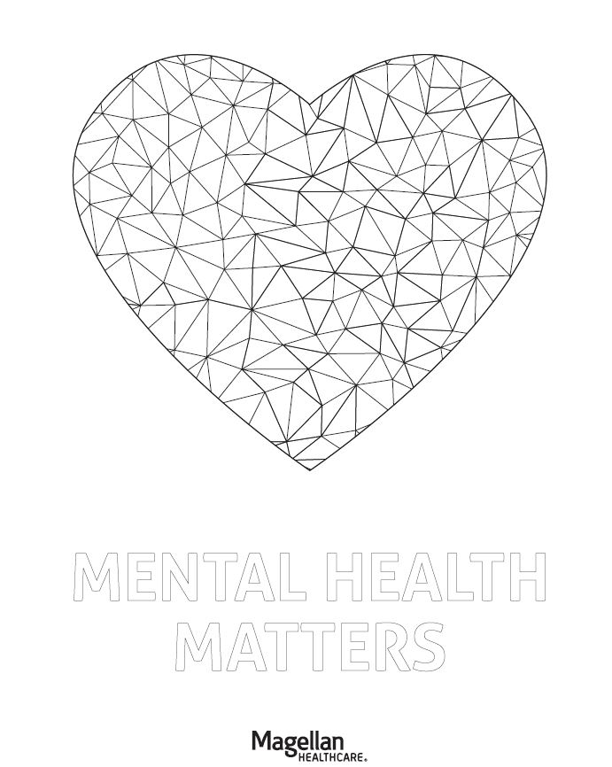 Mental Health Matters heart coloring page