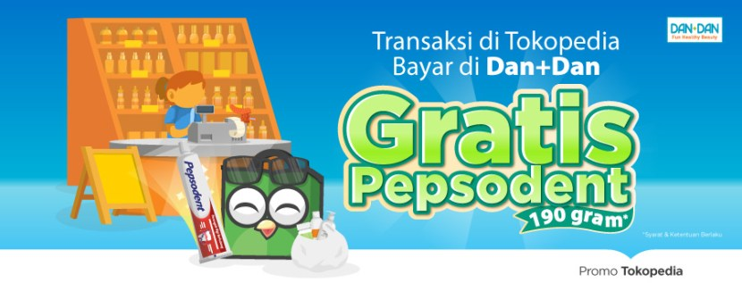 Transaksi di Tokopedia & Bayar di Dan+Dan, Gratis Pepsodent