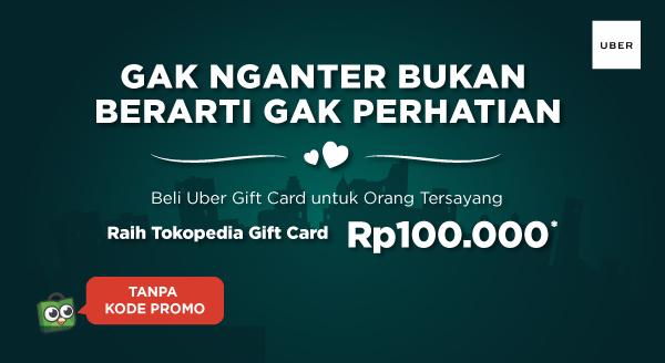Beli Uber Gift Card, Bonus Tokopedia Gift Card!