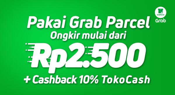 Hematnya pakai Grab Parcel. Ongkir mulai Rp2.500, plus cashback 10% ke TokoCash penjual.
