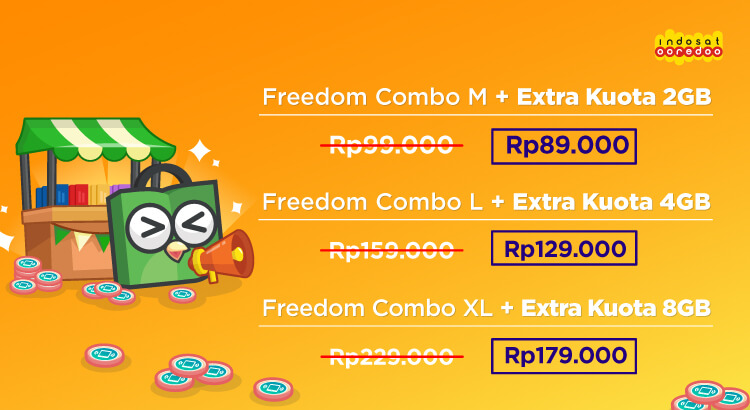 Makin puas internetan bersama Indosat Freedom Combo! Dapatkan harga spesial pembelian paket bundling Freedom Combo + Extra Kuota, hanya di Tokopedia.
