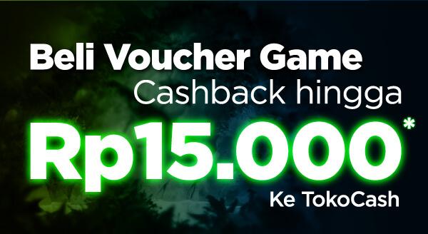 Cashback hingga Rp15.000 khusus pembelian voucher game, dapatkan sekarang yuk!