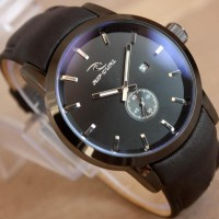 Jam Tangan Ripcurl Detroit crono detik leather Black list Silver